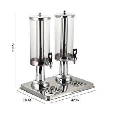 Kích thước Bình đựng nước hoa quả buffet 6 lít cổ chân nhựa mạ 2 ngăn BC2221-2