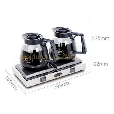 Kích thước bộ máy hâm cafe bình thuỷ tinh Queen Coffee chất lượng CQB-2