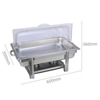 Kích thước nồi hâm buffet chữ nhật nắp PC 1 ngăn giá rẻ