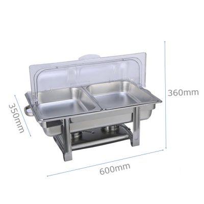 Kích thước nồi hâm buffet chữ nhật nắp PC 2 ngăn giá rẻ