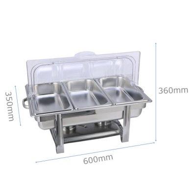 Kích thước Nồi hâm buffet chữ nhật nắp PC 3 ngăn giá rẻ