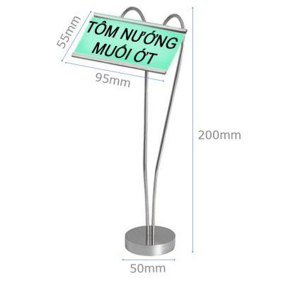Kích thước Cây kẹp menu hình tim inox cao 250 CM66-250