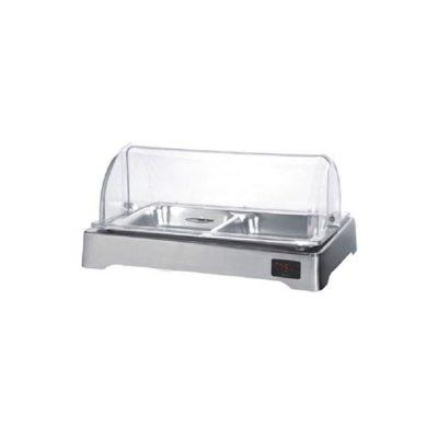Mô tả Khay đựng thức ăn buffet inox chữ nhật hâm nóng nắp PC KB3309