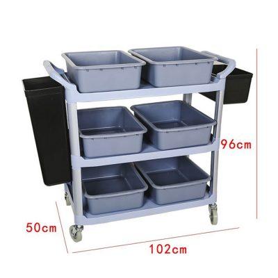 Kích thước Xe đẩy thu dọn chén dĩa thức ăn thừa 3 tầng đa năng