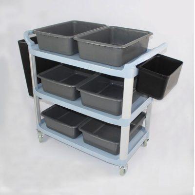 Xe đẩy thu dọn chén dĩa thức ăn thừa 3 tầng đa năng XB1507_hinh1