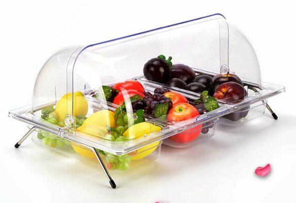 Kệ để khay nhựa chữ nhật 3 ngăn trưng bày thức ăn nắp PC