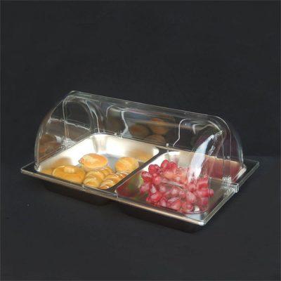 khay inox trưng bày thức ăn chữ nhật 2 ngăn có nắp pc KB2703-65