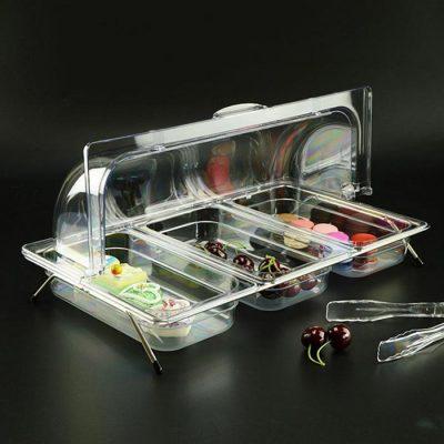 Kệ để khay đựng trưng bày thức ăn bằng nhựa có nắp PC KB2706-N365