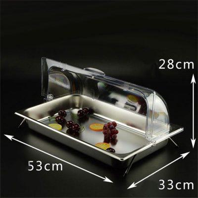 Kệ để khay inox trưng bày thức ăn chữ nhật 1 ngăn nắp PC KB2707-165
