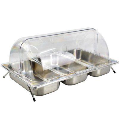 Kệ để khay inox trưng bày thức ăn chữ nhật 3 ngăn nắp PC KB2707-365