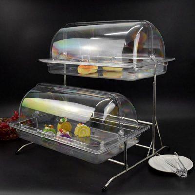 Kệ trưng bày thức ăn buffet 2 tầng khay 1/1 nắp PC KB2711