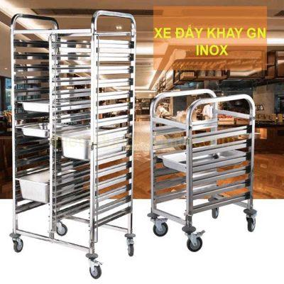 Xe đẩy khay inox gn 30 ngăn đôi TL0-XGN201-30
