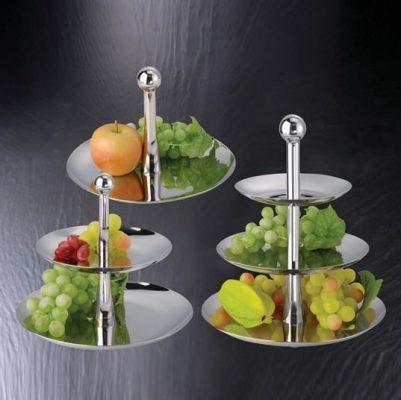 Cho thuê giá để bánh kẹo trái cây inox 3 tầng