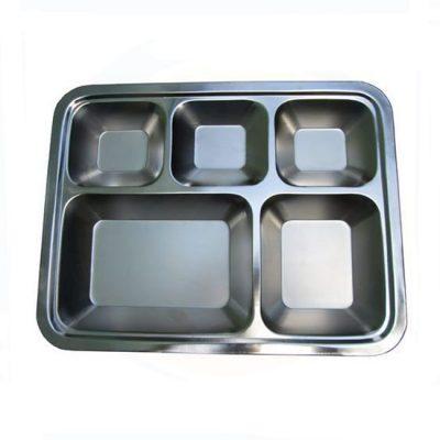 khay cơm inox có nắp 5 ngăn 304
