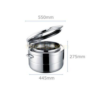 Kích thước Nồi soup buffet tròn inox 304 nắp kính thủy lực dùng trên bếp từ NF2166