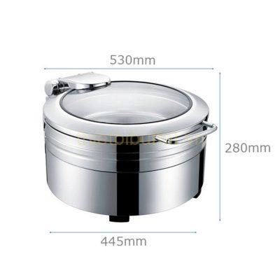 Kích thước Nồi hâm buffet tròn inox 304 nắp kính thủy lực dùng điện NF2171