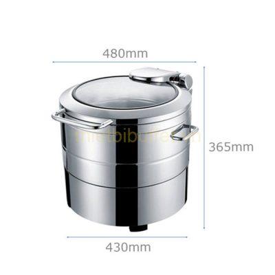Kích thước Nồi hâm soup buffet tròn inox 304 nắp kính thủy lực dùng điện NF2172