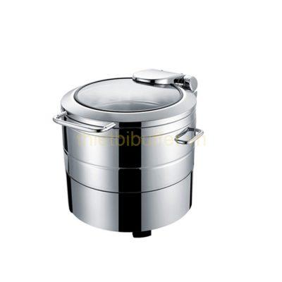 Nồi hâm soup buffet tròn inox 304 nắp kính thủy lực dùng điện NF2172
