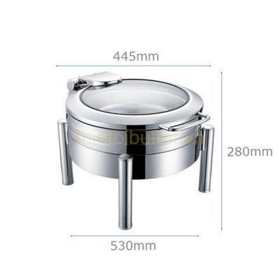 Kích thước Nồi buffet tròn inox 304 nắp kính thủy lực chân trụ tròn NF2186
