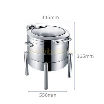 Kích thước Nồi soup buffet tròn inox 304 nắp kính thủy lực chân trụ tròn NF2187