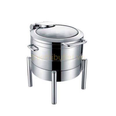 Nồi soup buffet tròn inox 304 nắp kính thủy lực chân trụ tròn NF2187