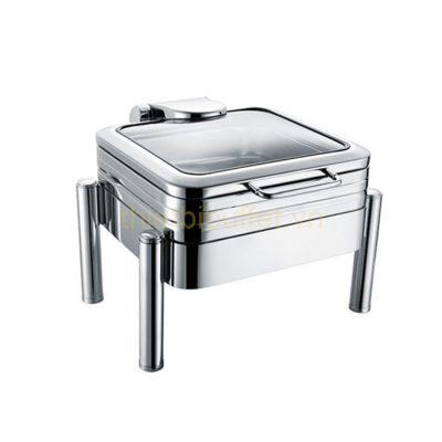 Nồi buffet vuông inox 304 nắp kính thủy lực chân trụ tròn NF2188