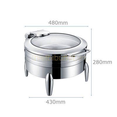 Nồi buffet tròn inox 304 nắp kính thủy lực chân kiểu NF2191
