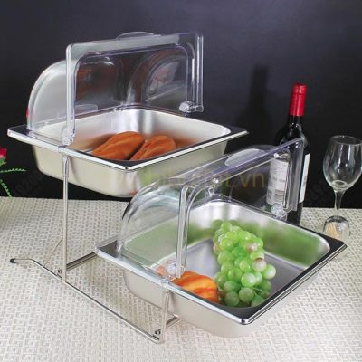 Kệ trưng bày thức ăn buffet 2 tầng khay 1/2 inox nắp PC thu gọn 90 độ KB2723-65