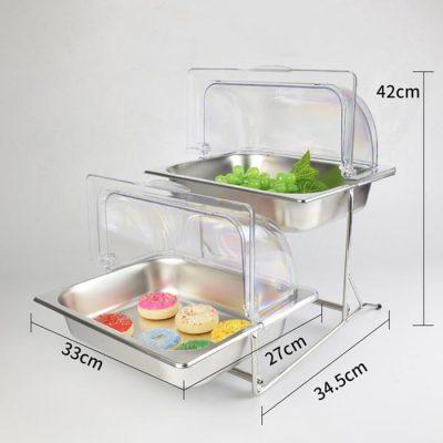 Kích thước Kệ trưng bày thức ăn buffet 2 tầng khay 1/2 inox nắp PC thu gọn 90 độ KB2723-65