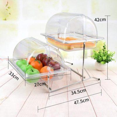 Kích thước Kệ trưng bày thức ăn buffet 2 tầng khay 1/2 nhựa nắp PC thu gọn 90 độ KB2724-65