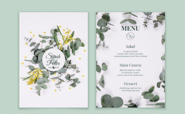 mẫu menu bàn tiệc cưới đẹp năm 2021