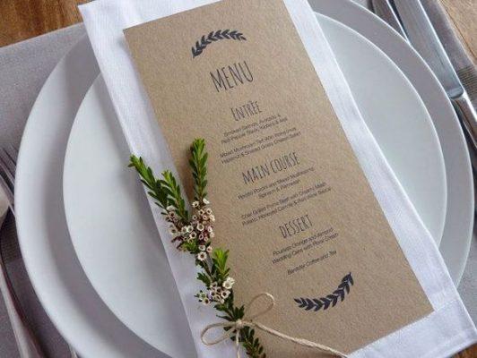 Mẫu menu tiệc cưới Calligraphy