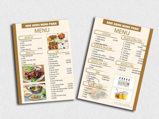 menu để bàn có chân chữ A