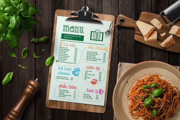 menu để bàn trong nhà hàng