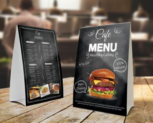 menu để bàn dạng gói