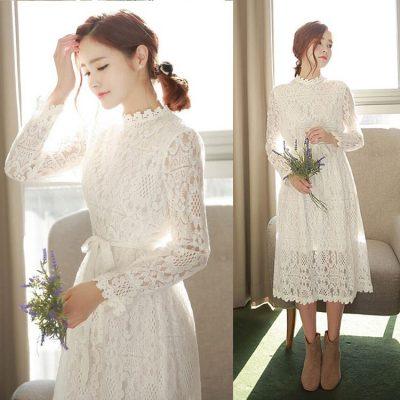 Đầm ren trắng